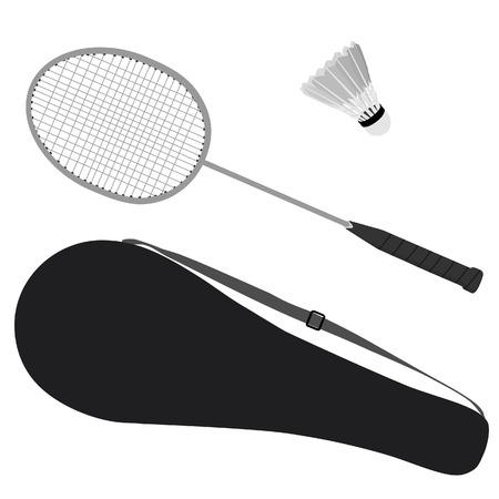 badminton racket: Badminton racket, shuttlecock, badminton racket cover, badminton case Stock Photo
