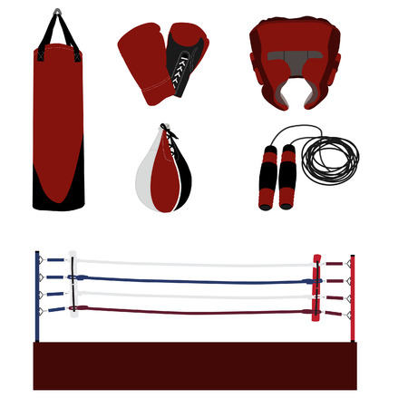 punching bag: raster boxing icon set- boxing ring, gloves, helmet, jumping rope, punching bag, speed bag Stock Photo