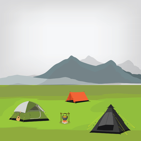 camping site: raster illustration of family camping with three camping tents and campfire. Summer camp. Mountain background, landscape. Camp site