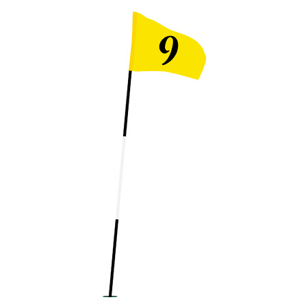 Yellow golf flag isolated on white raster with number nine, sport equipment