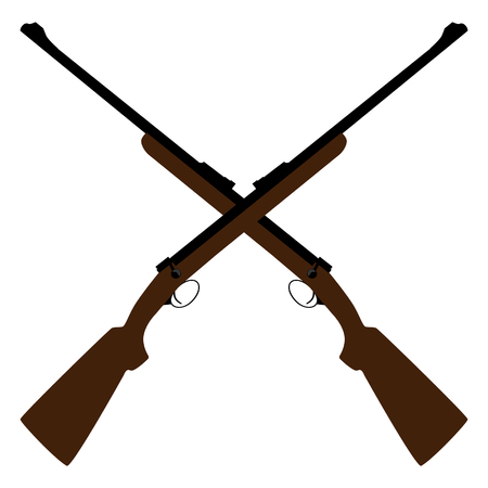 old rifle: Two crossed rifle raster illustration. Hunting rifle. Sniper rifle. Old rifle. Revolution symbol