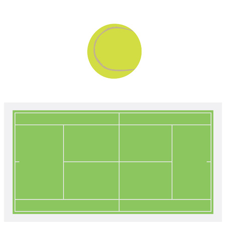 tennis net: Single yellow tennis ball and green grass tennis court, sport equipment, tennis net