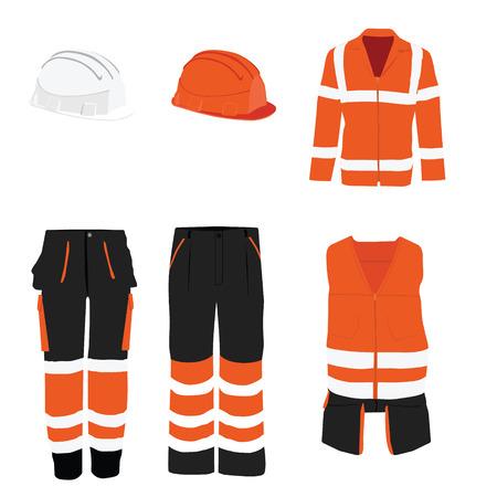 chaqueta: Icono naranja trama ropa de seguridad establecido con chaleco, pantalones y casco casco de seguridad. Equipo de seguridad. Ropa protectora