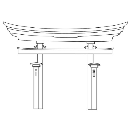 torii: raster illustration of japanese gate outline drawing. Torii gate. Japan gate