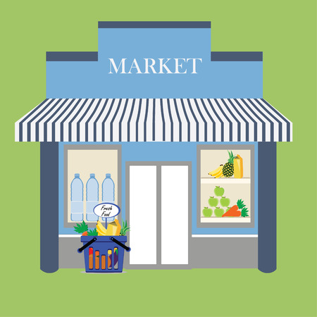 front of house: raster illustration grocery store facade with signboard. Basket with fresh food. Flat style illustration or icon.