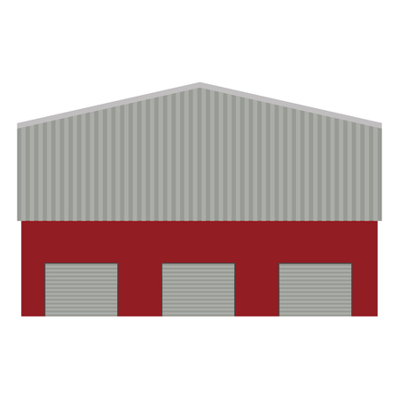 warehouse building: raster illustration of factory or warehouse for cargo delivery with three doors. Storage building