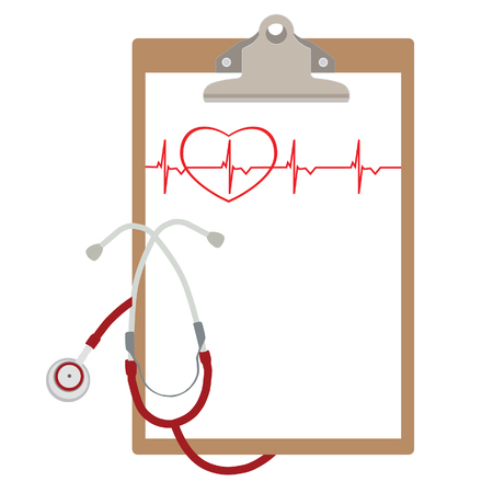 medical clipboard: raster illustration of blank paper in clipboard with stethoscope and ekg line. Medical concept. Red ekg line with heart Stock Photo