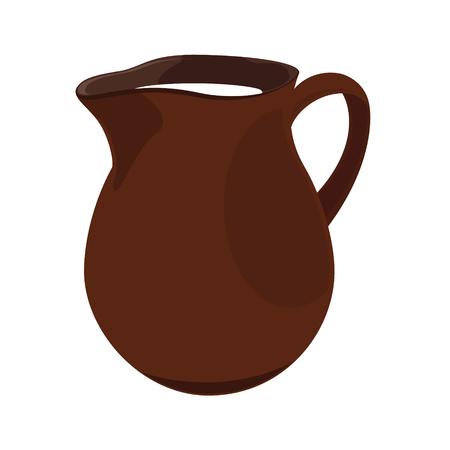 the milk jug: raster illustration ceramic milk jug full with fresh milk
