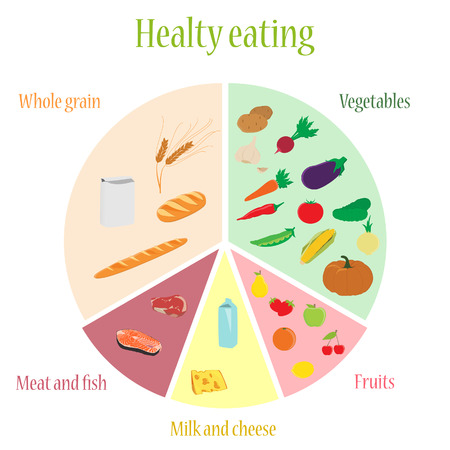 diet food: raster illustration plan of healthy eating nutrition chart. Fruits vegetables milk and cheese whole grains  meat and fish