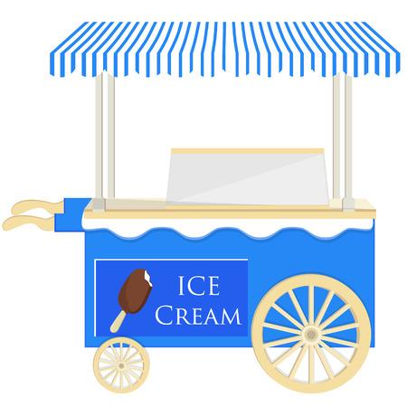 ice cream stand: Ice cream blue  cart raster icon isolated, ice cream stand, ice cream shop, ice cream vendor Stock Photo