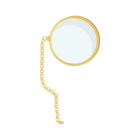 monocle: Golden monocle with chain raster isolated, hipster style, retro