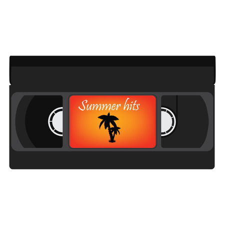 hits: Black retro video tape with palm silhouette and text summer hits for summer party raster illustration. Vhs tape, video cassette raster isolated