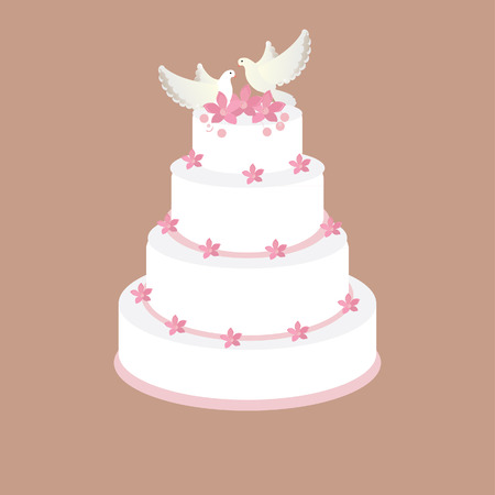 torte: Wedding cake with pink flowers and two pigeons raster on brown background, wedding invitation . Stock Photo