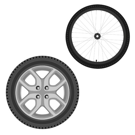 motoring: New car and bicycle wheel raster set isolated, sport wheel