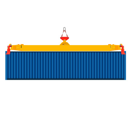 dockyard: Freight blue container on crane at the dock raster illustration.