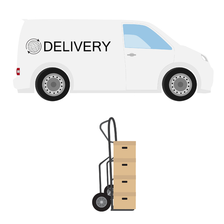 hand truck: Delivery icon set. White delivery van with globe symbol and hand truck with four carton boxes. Express delivery. Worldwide delivery Stock Photo