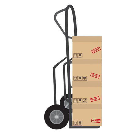 keep up: Hand truck with four brown cardboard boxes raster. Boxes with symbols keep dry, sign up, no sun and fragile Stock Photo