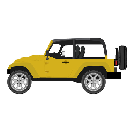off road vehicle: raster illustration yellow safari travel car. Jeep car off road vehicle Stock Photo