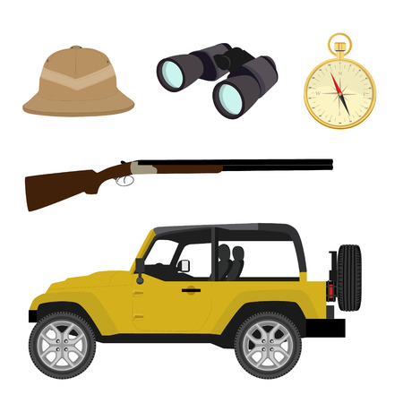 camping pitch: raster safari travel icon set with compass, rifle, pitch helmet, binoculars and yellow jeep car