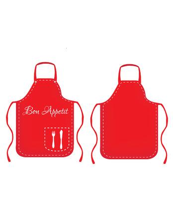 feminino: Ilustração de avental, avental vermelho, avental de cozinha branco, cozinhando o avental, avental de cozinha Banco de Imagens