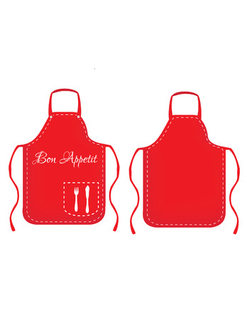 Illustration of  apron, red apron, white kitchen apron, cooking apron, kitchen apron