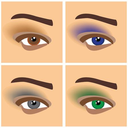 female eyes: Makeup eyes set of raster symbols. Set of raster illustrations with beautiful female eyes with different makeup
