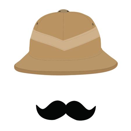médula: Sombrero de safari y bigote negro, salacot, sombrero de safari aislado, headware. Concepto de los viajeros o símbolo Foto de archivo