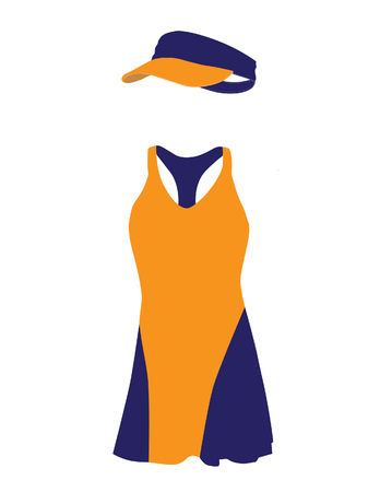 orange dress: Blue and orange tennis dress with hat, cap, sportswear, sport clothing, tennis clothing