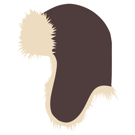 winter hat: Brown winter hat raster isolated, protection, vintage Stock Photo
