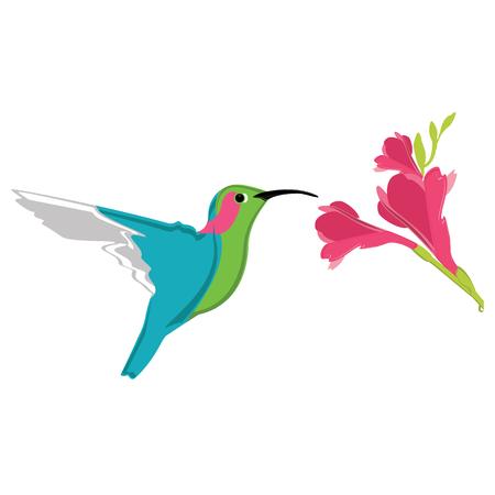 Vector illustratie kleine exotische kolibrie en prachtige exotische roze bloem. natuurparadijs Stock Illustratie