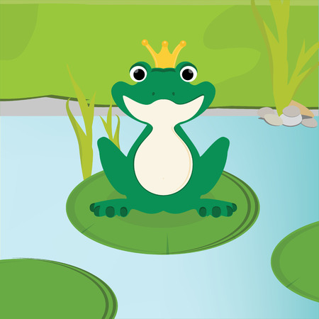 lily leaf: Vector illustration green, cute frog with golden crown on head sitting on the water lily leaf in lake.