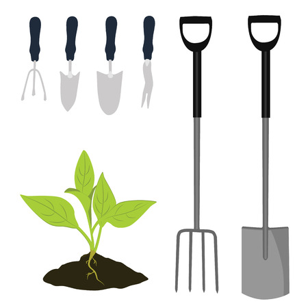 cultivator: Garden tools vector icon set. Garden shovel, garden fork, cultivator and  plant growing in the ground. Little plant seedling.