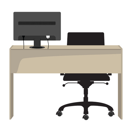 ergonomic keyboard: Vector illustration workplace with computer, wooden desk, office chair and monitor. Business concept