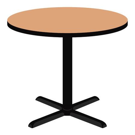 Illustrazione vettoriale tavola rotonda di legno vuota. Mobili di legno.