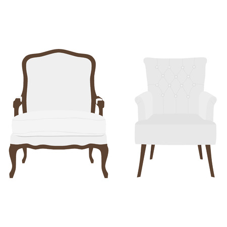 armchairs: Vector illustration set of vintage and modern white armchairs. Two elegant realistic armchair