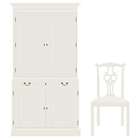 baroque room: Vector illustration white vintage cabinet and chair. Retro interior furniture Illustration