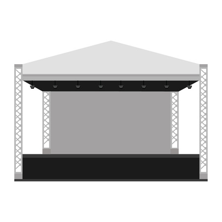 outdoor event: Vector illustration outdoor concert stage, truss system. Podium concert stage. Performance show entertainment, scene and event. Illustration