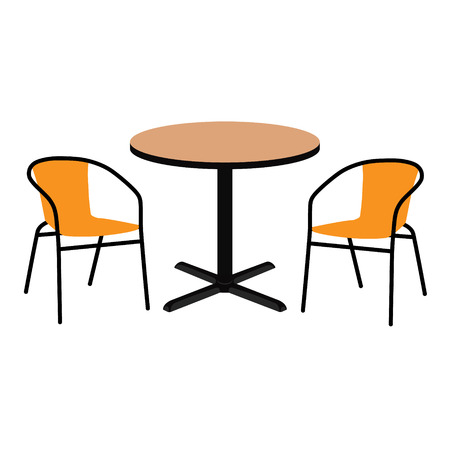Vector illustration wooden outdoor table and two chairs. Round table and chairs for cafe, restaurant terrace
