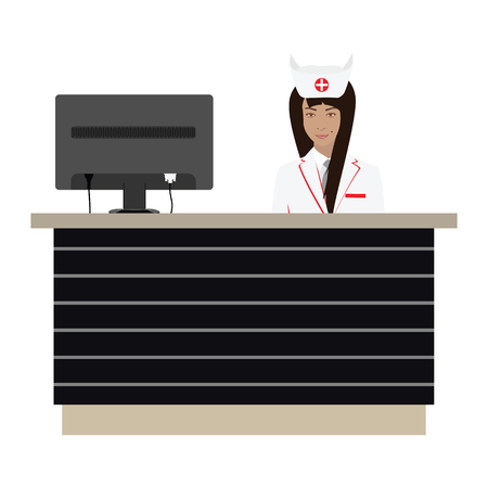 druggist: Modern flat vector illustration of a smiling young attractive female pharmacist behind the reception desk with monitor . Health care concept