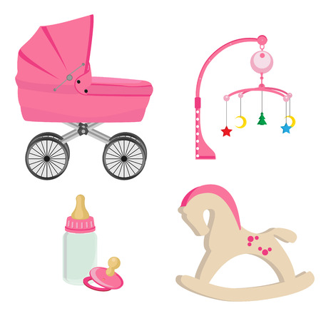 Baby girl pink perambulator, bottle, nipple, pram rattle with star, moon and tree , rocking horse vector icon set
