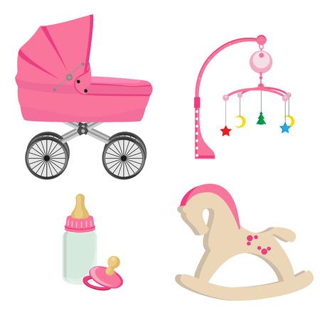 Baby rosa Kinderwagen, Flasche, Nippel, Kinderwagen Rassel mit Stern, Mond und Baum, Schaukelpferd Vektor-Icon-Set