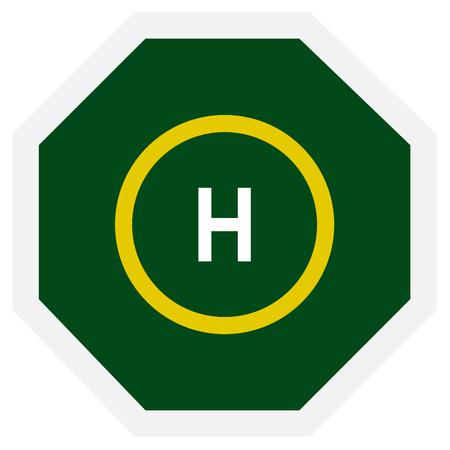heliport: Vector illustration green helicopter landing place. Helicopter landing icon symbol. Heliport Illustration