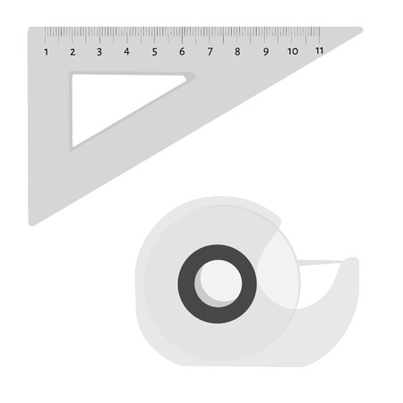 long recovery: Vector illustration scotch tape and triangle ruler office, school stationery tools. Illustration