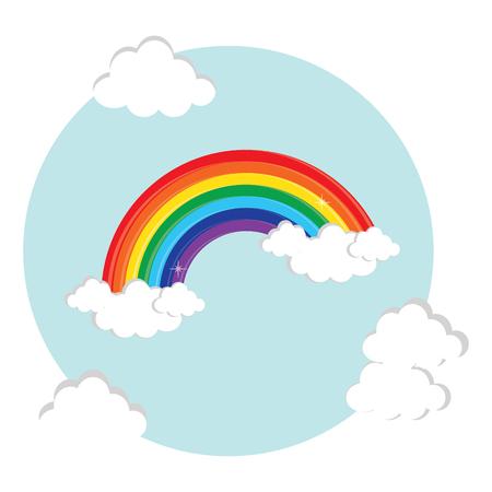 arcoiris caricatura: Ilustración del vector del arco iris y de la nube en el cielo. símbolo del arco iris, icono plana. arco iris de colores decorativos postal redonda