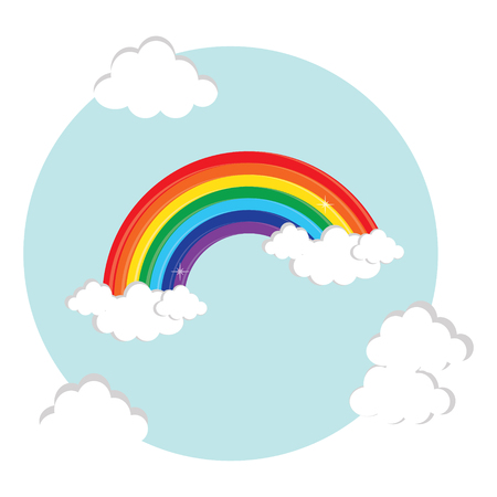 Vector illustration rainbow and cloud in the sky. Rainbow symbol, flat icon. Color decorative rainbow round postcard