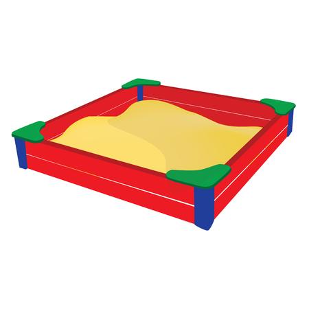 sandbox: Vector illustration red sandbox full of sand. Sandbox icon. Illustration