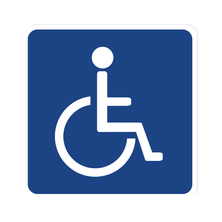 handicap: Blue disabled handicap vector icon. Wheelchair. Disabled parking only. Disabled sign