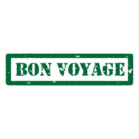 bon: Vector illustration green bon voyage grunge rubber stamp on white Illustration