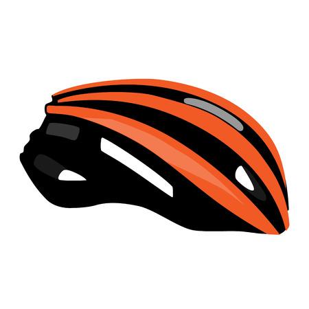 head protection: Orange bicycle helmet vector isolated, bike helmet, sport equipment, head protection