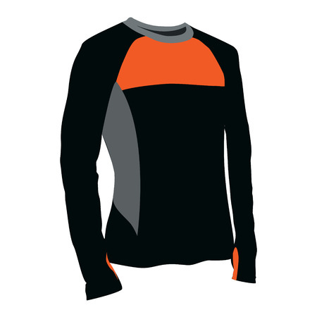 Vector illustration of  orange and black t-shirt. Sport clothes for man and woman. Shirt with long sleeves design template